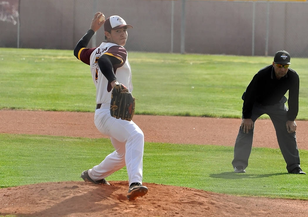 Horace Langford Jr./Pahrump Valley Times Sophomore Jalen Denton pitches against Mojave during a ...