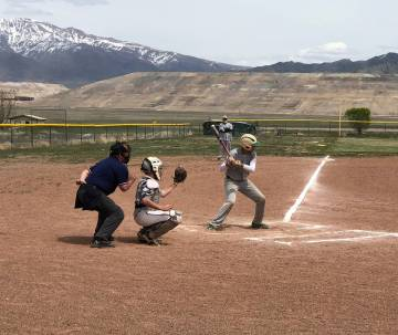 Tom Rysinski/Pahrump Valley Times Beatty's Miguel Castro waits for a pitch from Round Mountain' ...