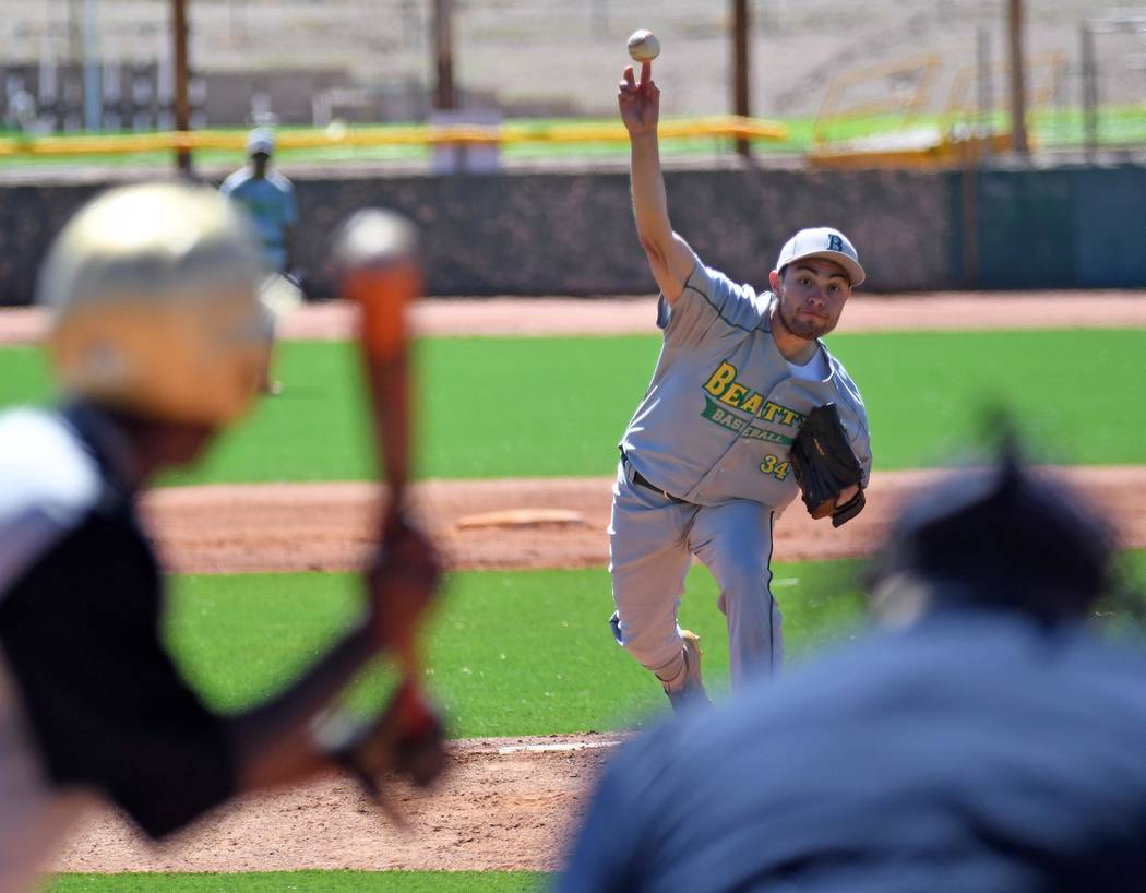 Richard Stephens/Special to the Pahrump Valley Times Senior Geo Maldonado pitches during a Marc ...