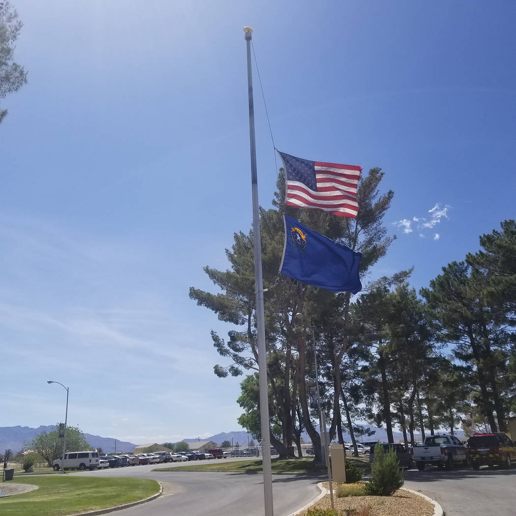 David Jacobs/Pahrump Valley Times Gov. Steve Sisolak was ordering the flags to half-staff to ho ...