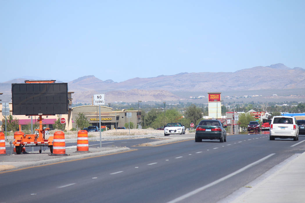 Jeffrey Meehan/Pahrump Valley Times The Nevada Department of Transportation has set up signage ...