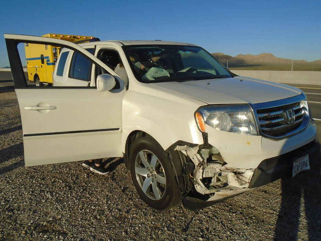 Special to the Pahrump Valley Times The impact of tire debris caused the activation of an SUV's ...