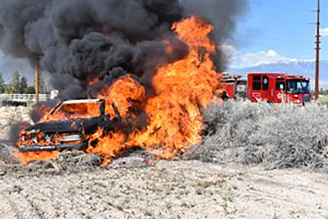 Special to the Pahrump Valley Times Pahrump fire crews responded to a vehicle fire along the 24 ...