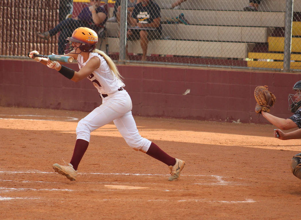 Cassondra Lauver/Special to the Pahrump Valley Times Pahrump Valley leadoff hitter Tereena Mart ...