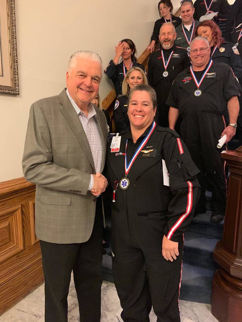 Provided to the Times-Bonanza Sarah Allen received the Nevada Ambulance Association Star of Lif ...