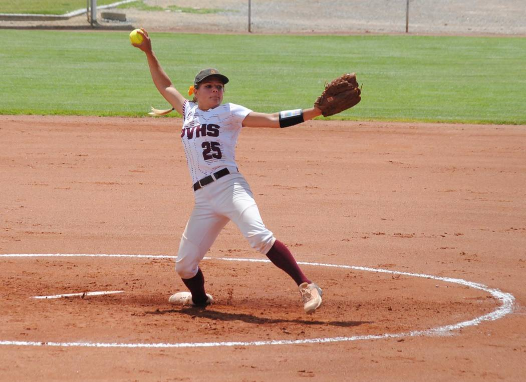 Charlotte Uyeno/Pahrump Valley Times Ally Rily pitched all seven innings for Pahrump Valley, dr ...
