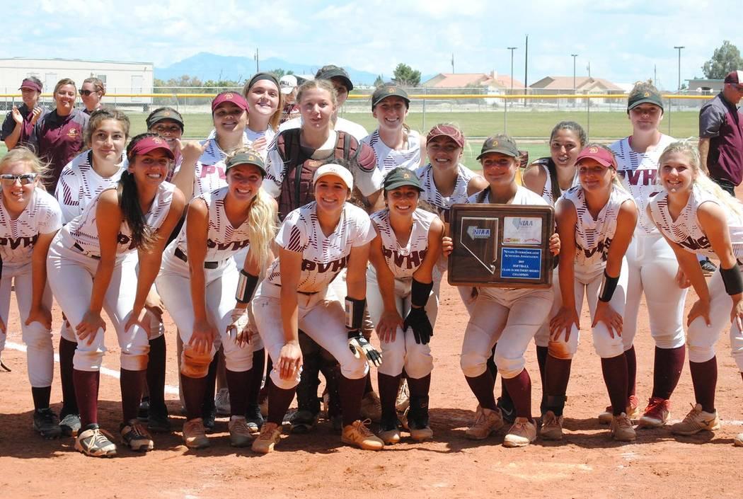 Charlotte Uyeno/Pahrump Valley Times Pahrump Valley High School softball players celebrate winn ...