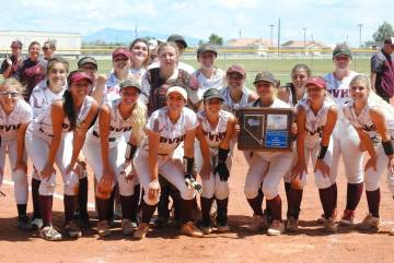 Charlotte Uyeno/Pahrump Valley Times Pahrump Valley High School softball players celebrate winn ...