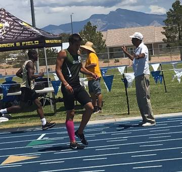 Ashley Anderson/Special to the Pahrump Valley Times Beatty junior Jose Granados winds down afte ...