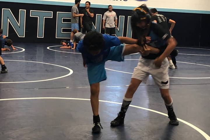 Tom Rysinski/Pahrump Valley Times Pahrump resident Mika Yoffee, 10, spars with another House of ...
