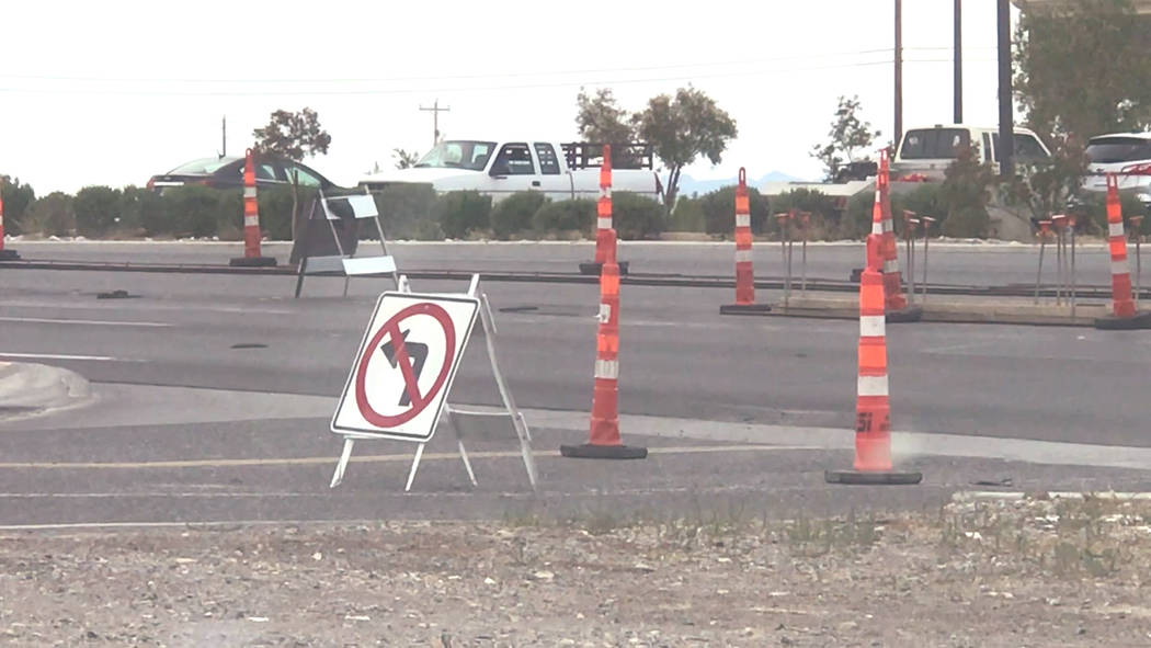 Jeffrey Meehan/Pahrump Valley Times Motorists will no longer be able to turn left onto Highway ...