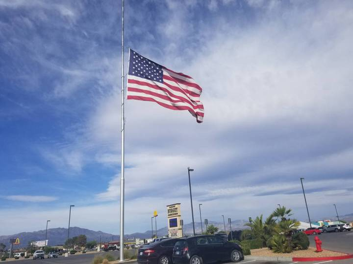 David Jacobs/Pahrump Valley Times An American flag is shown flying at half-staff in Pahrump on ...