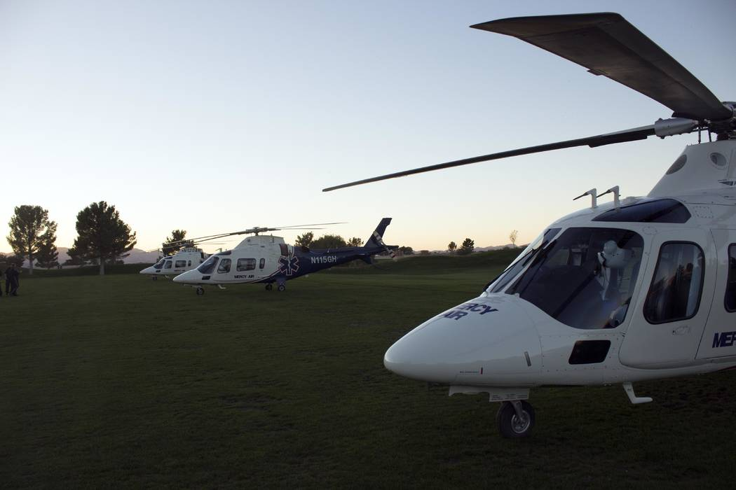 Jeffrey Meehan/Pahrump Valley Times Several Mercy Air helicopters sit at Mountain Falls Golf Co ...