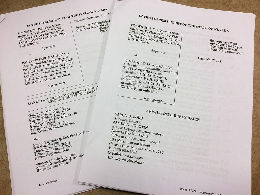 Robin Hebrock/Pahrump Valley Times The final two briefs in the appeal on water Order #1293(A) a ...