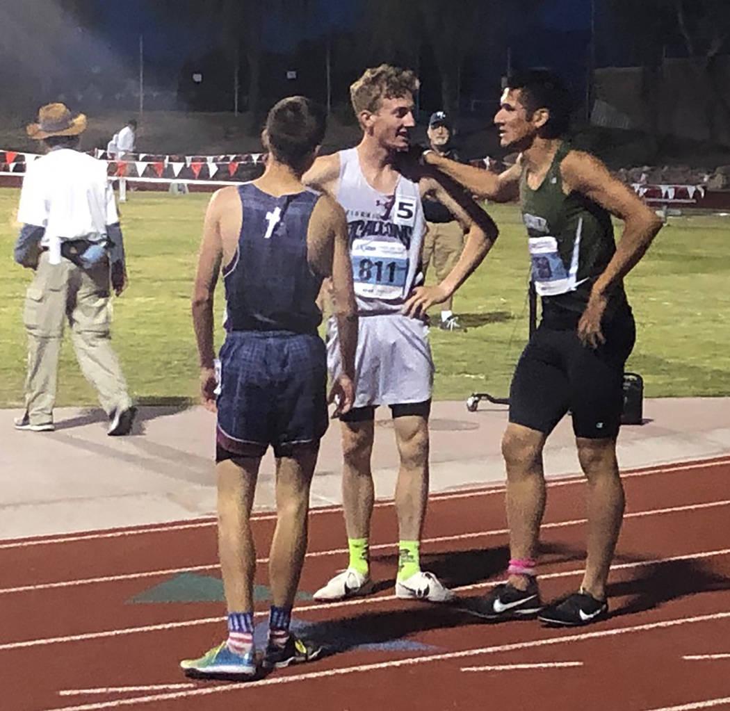 Tom Rysinski/Pahrump Valley Times Beatty junior Jose Granados, right, chats with Jared Marchegg ...