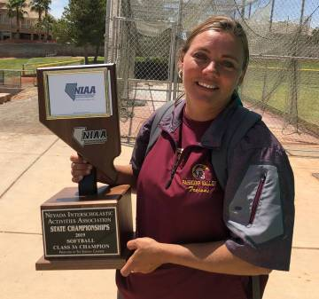 Tom Rysinski/Pahrump Valley Times Pahrump Valley softball coach Cassondra Lauver shows off the ...