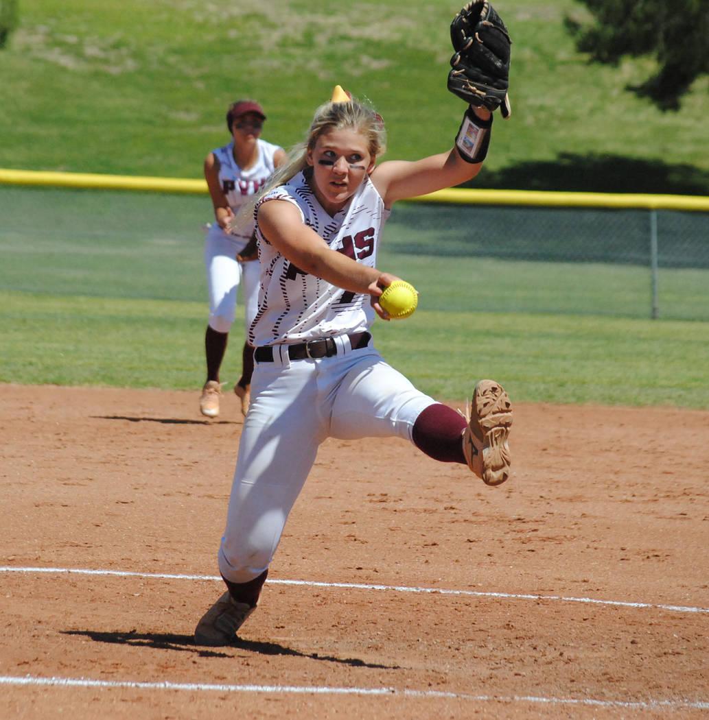 Charlotte Uyeno/Pahrump Valley Times Pahrump Valley junior Hannah Cuellar delivers against Fern ...