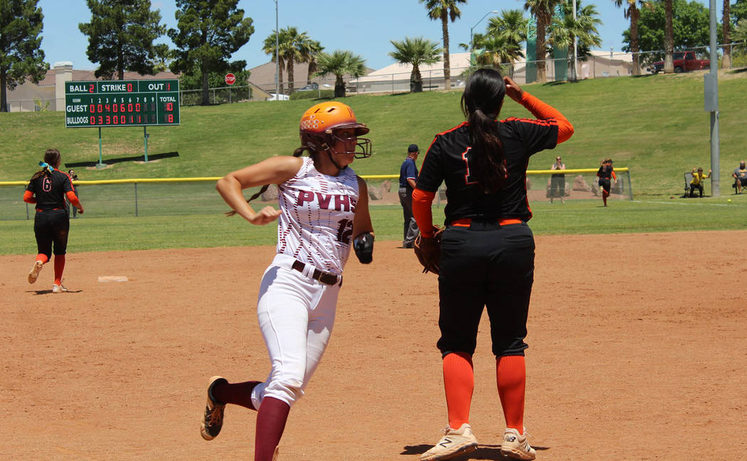 Cassondra Lauver/Special to the Pahrump Valley Times Pahrump Valley junior Kaden Cable rounds t ...