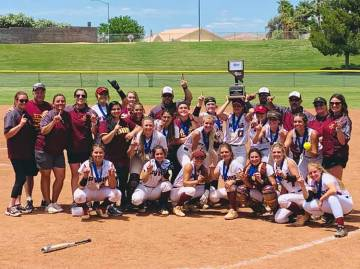 Special to the Pahrump Valley Times Pahrump Valley High School softball players and coaches wit ...