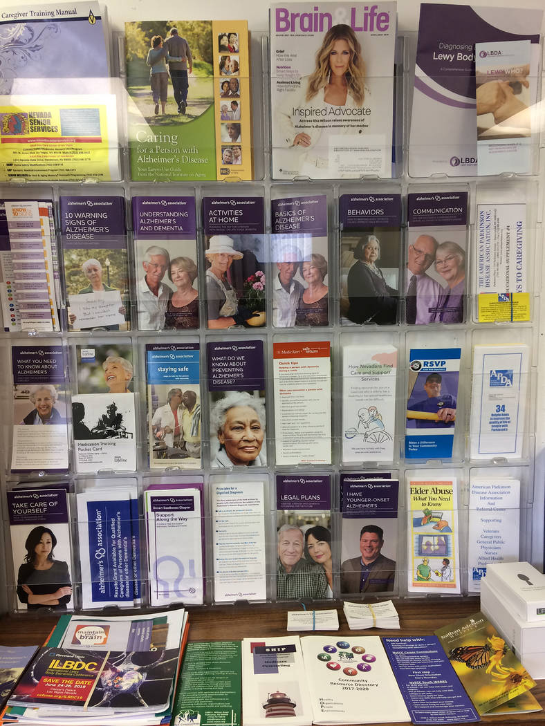 Robin Hebrock/Pahrump Valley Times Pamphlets providing an array of information on dementia and ...