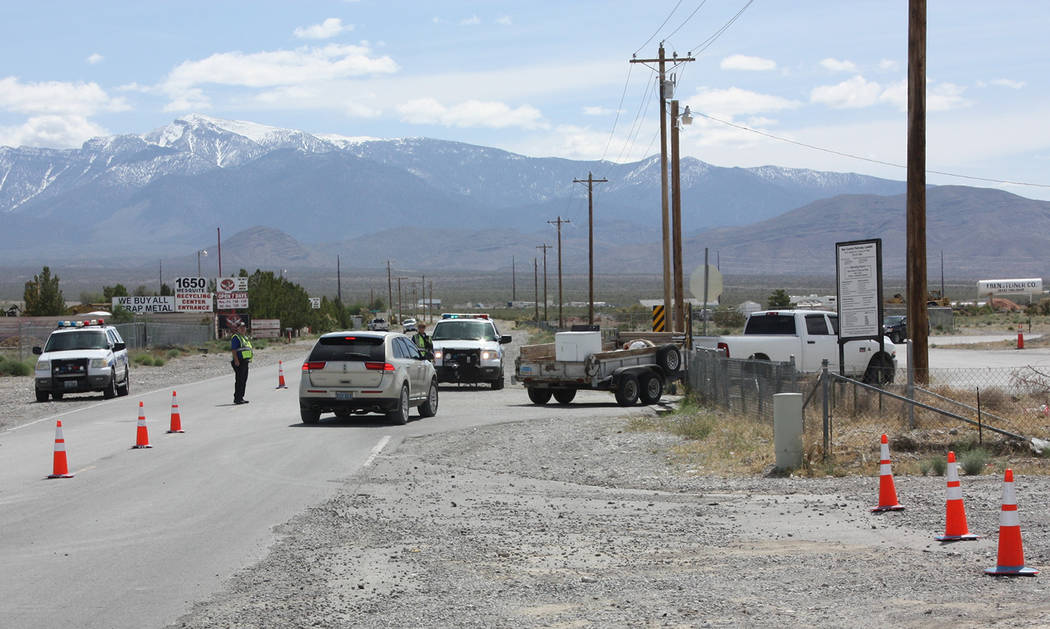 Robin Hebrock/Pahrump Valley Times The Nye County Sheriff's Office Auxiliary was on site to dir ...