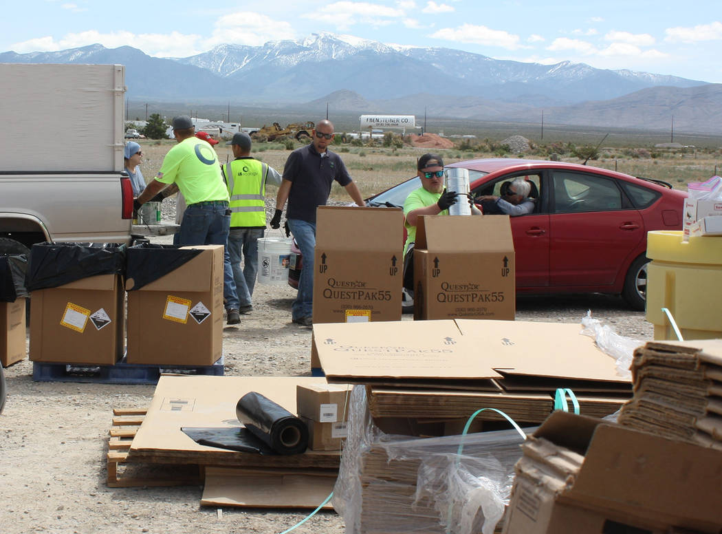 Robin Hebrock/Pahrump Valley Times Workers with U.S. Ecology spent May 18 at the Nye County Lan ...