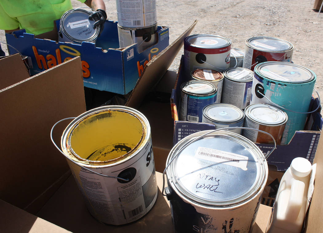 Robin Hebrock/Pahrump Valley Times Nye County officials reported that painting materials, such ...