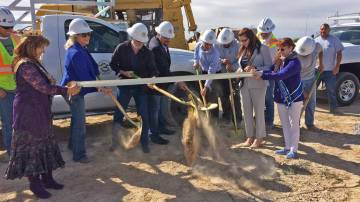 Robin Hebrock/Pahrump Valley Times The ceremonial turning of the dirt at the Kellogg Park groun ...