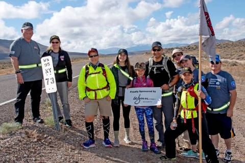 Richard Stephens/Special to the Pahrump Valley Times The group gathered at mile marker 73 for a ...
