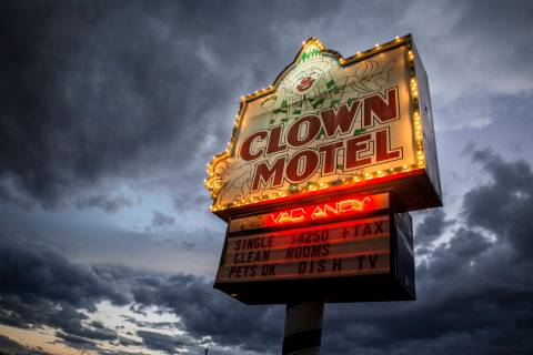 Patrick Connolly/Las Vegas Review-Journal The Clown Motel sign glows as the sun sets in Tonopah ...