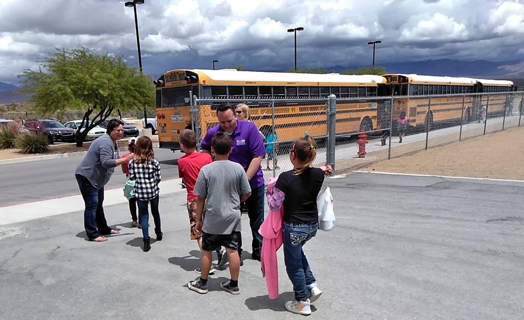 "Selwyn Harris/Pahrump Valley Times Floyd Elementary School Principal Joe Gent says ""fare-thee-w ..."