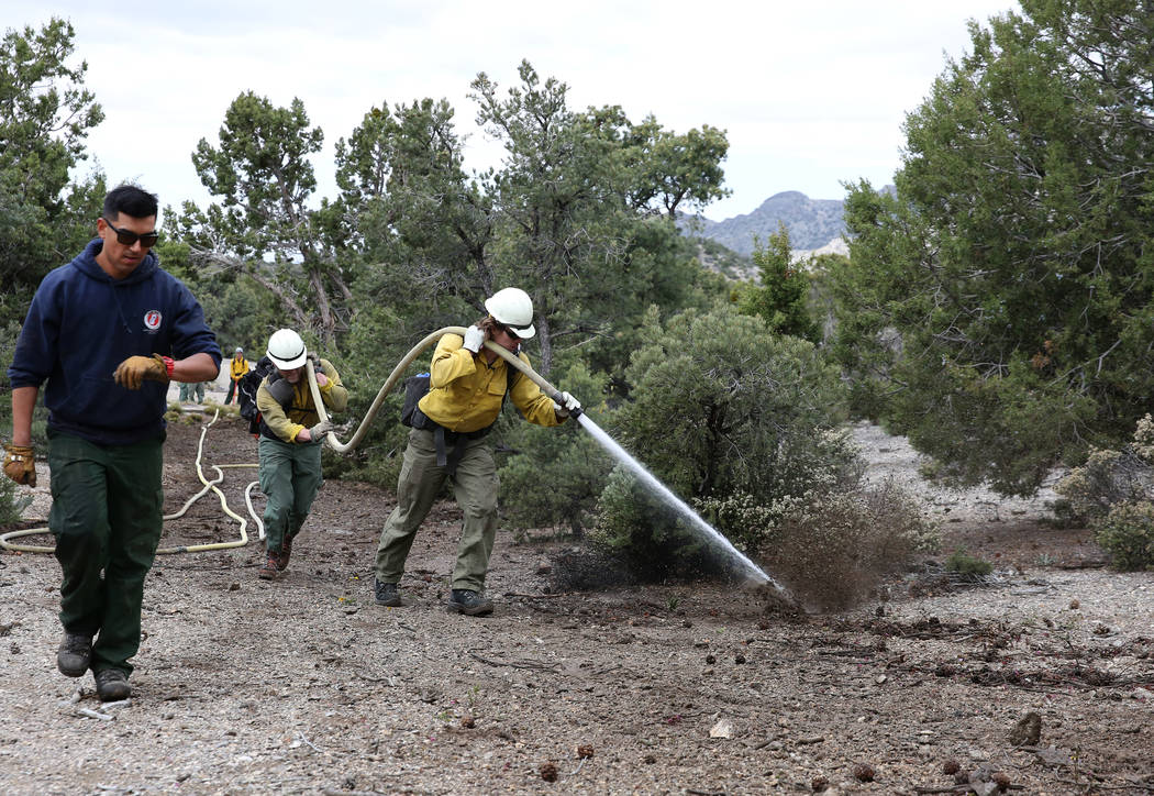 Firefighter from Bureau of Land Management, Calvin Goff, right, and Travis Flowers, center, spr ...