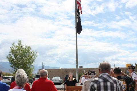 Robin Hebrock/Pahrump Valley Times Attendees of the Veterans of Foreign Wars Post #10054 stand ...