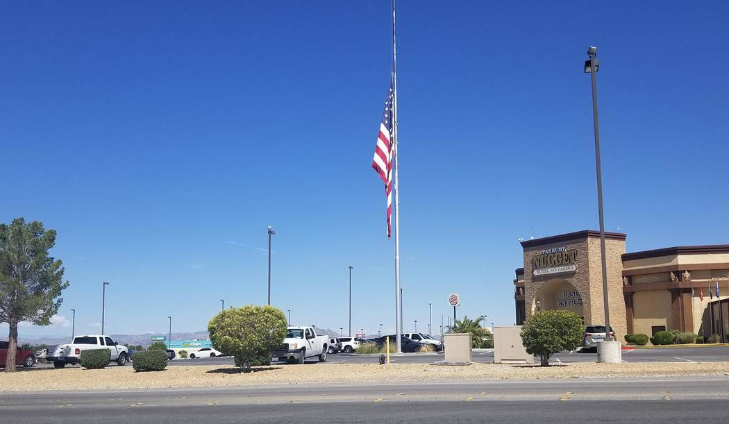 David Jacobs/Pahrump Valley Times The American flag stands at half staff in Pahrump as shown in ...