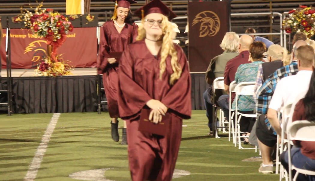 Jeffrey Meehan/Pahrump Valley Times Pahrump Valley High School graduates walked across the stag ...