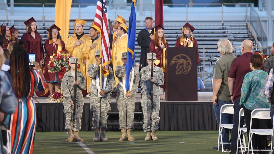 Jeffrey Meehan/Pahrump Valley Times The national anthem was sung at the start of the 2019 gradu ...