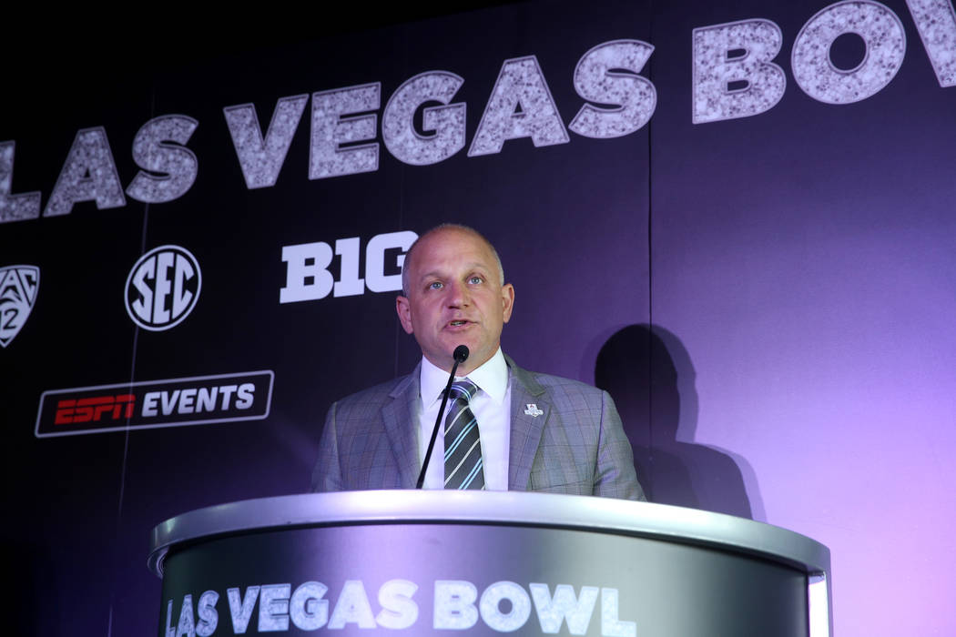 Raiders President Marc Badain during announcement for the Mitsubishi Las Vegas Bowl during a ne ...