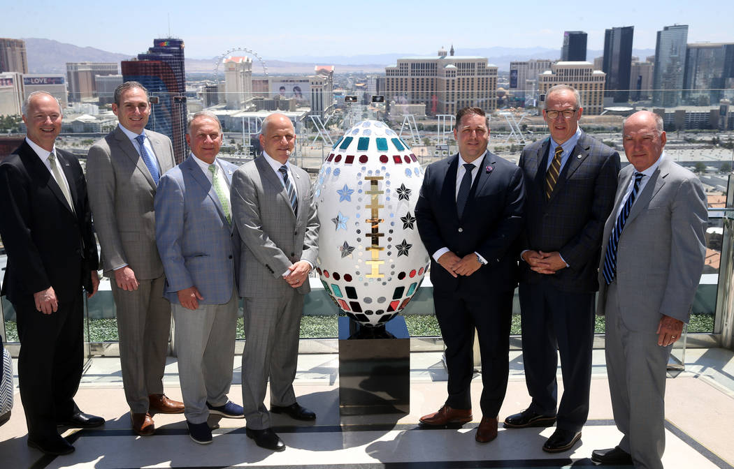 Steve Hill, CEO and president of the Las Vegas Convention and Visitors Authority, from left, Pa ...