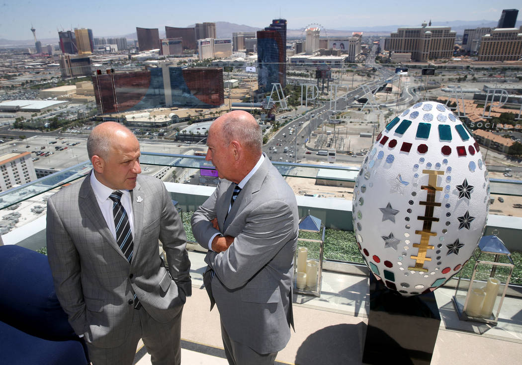 Raiders President Marc Badain, left, and Big Ten Commissioner James Delany during announcement ...