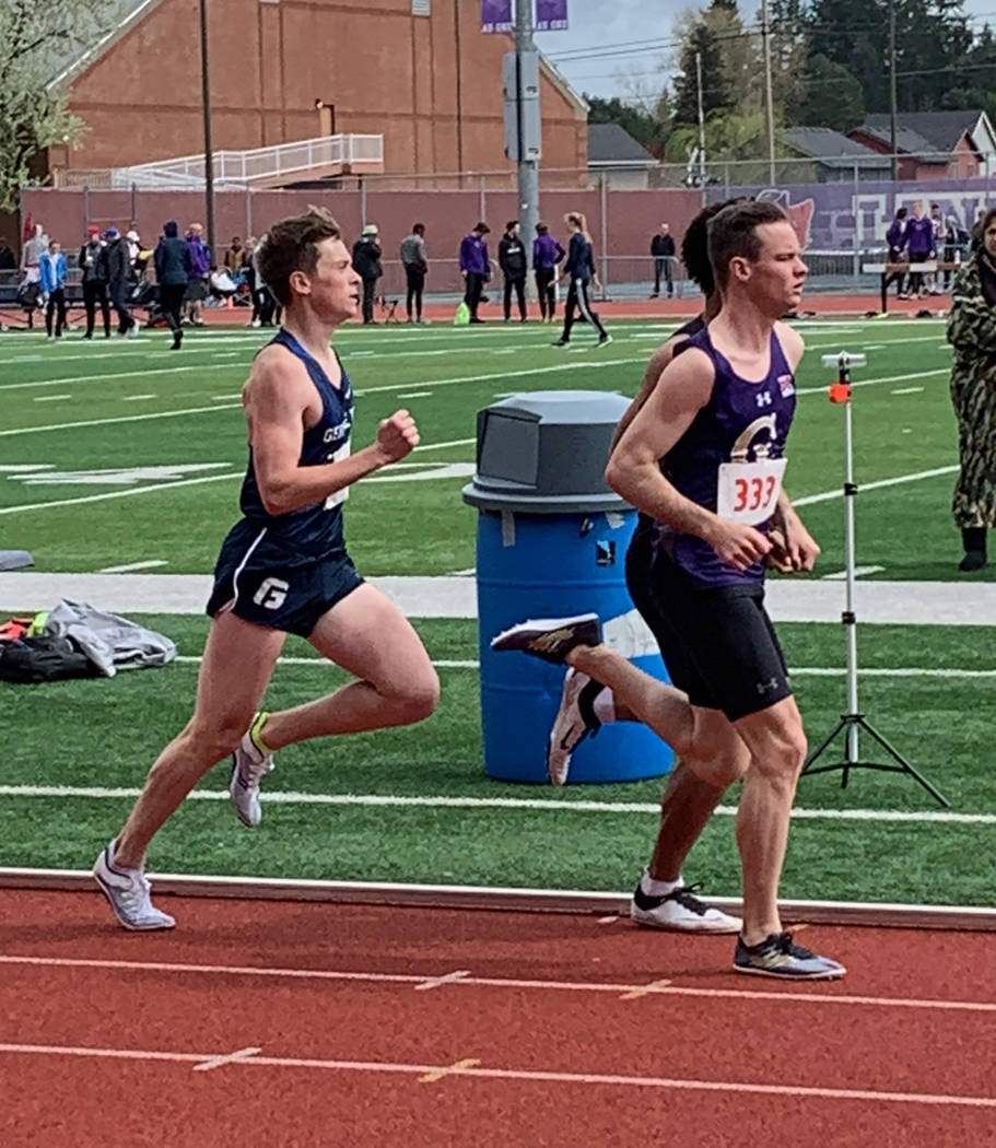 Special to the Pahrump Valley Times College of Idaho freshman Bryce Odegard, right, competed in ...