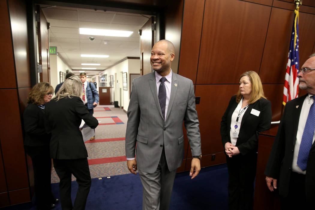 Attorney General Aaron Ford walks into the Assembly chamber in the Legislative Building in Cars ...