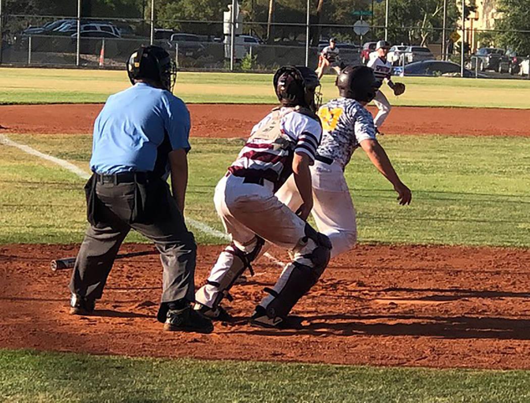 Tom Rysinski/Pahrump Valley Times The Pahrump Trojans 14U baseball team managed just five hits, ...
