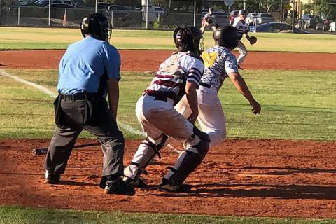 Tom Rysinski/Pahrump Valley Times The Pahrump Trojans 14U baseball team managed just five hits, ...