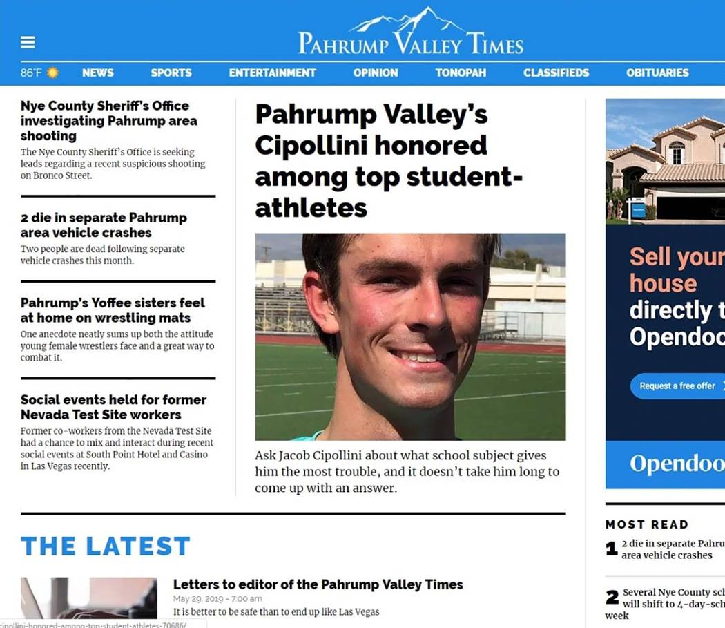 Screenshot/Pahrump Valley Times A look at the test page from the upcoming refreshed website of ...