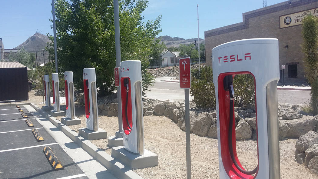 David Jacobs/Pahrump Valley Times Tesla charging stations in the Nye County community of Tonopa ...