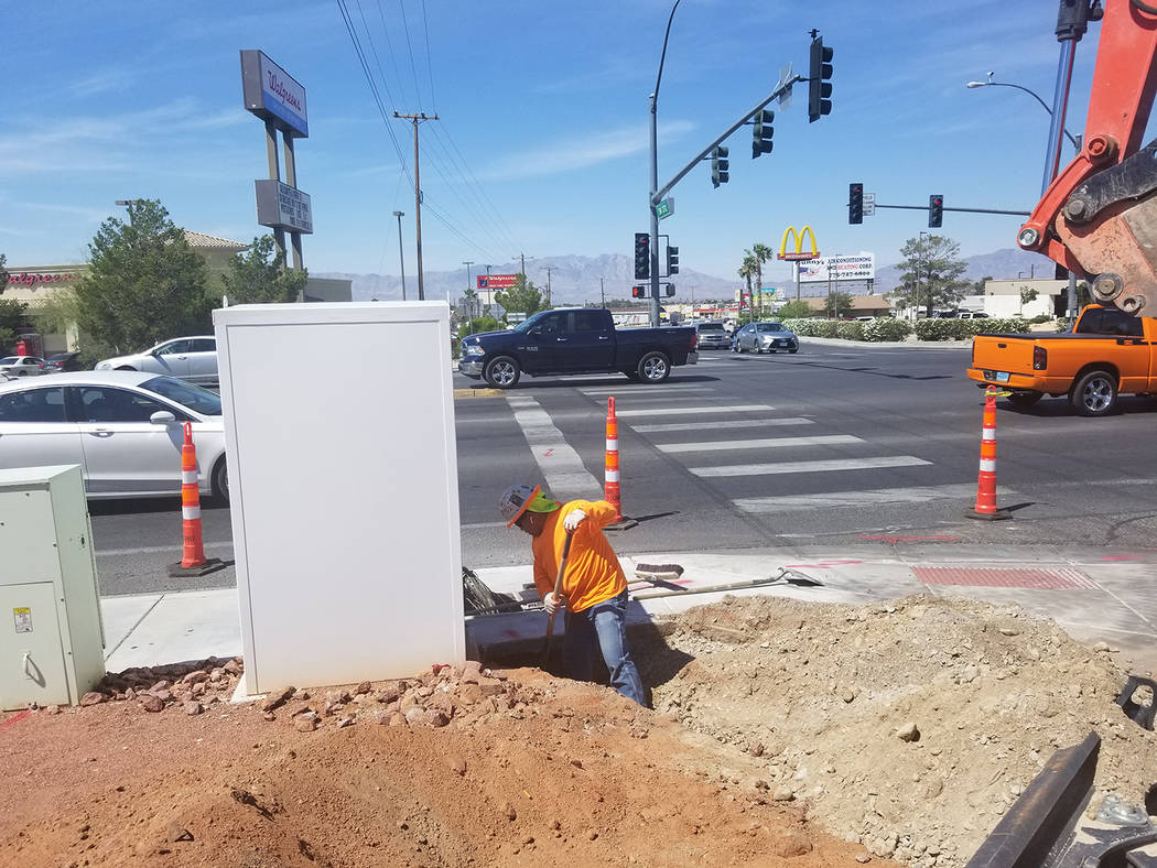 David Jacobs/Pahrump Valley Times A construction worker is under the sun as daytime heat was bu ...