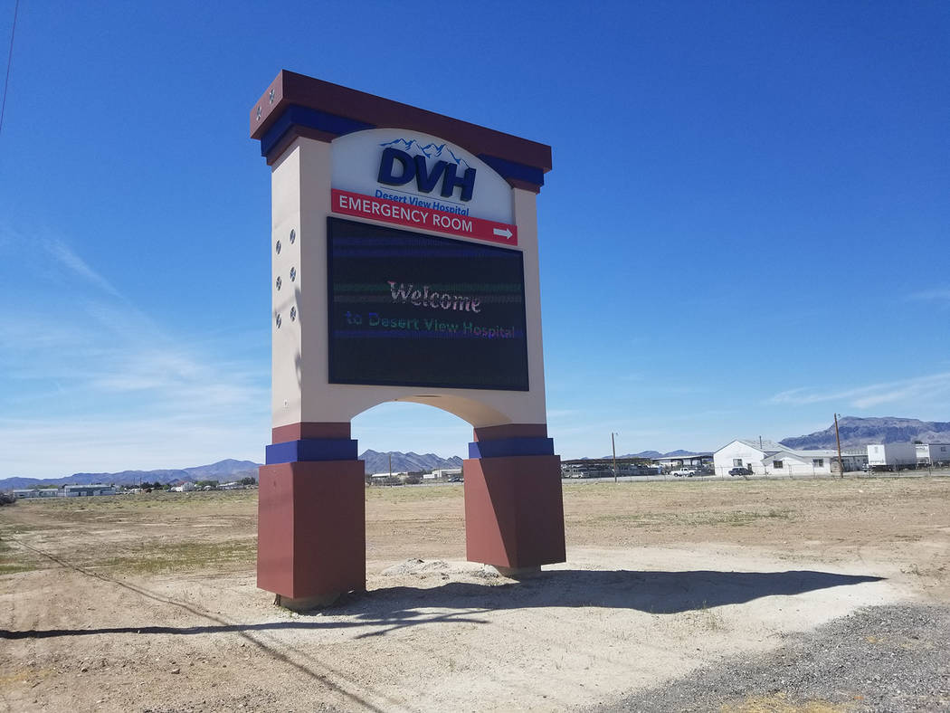 David Jacobs/Pahrump Valley Times A sign for Desert View Hospital as shown in a photo taken ear ...