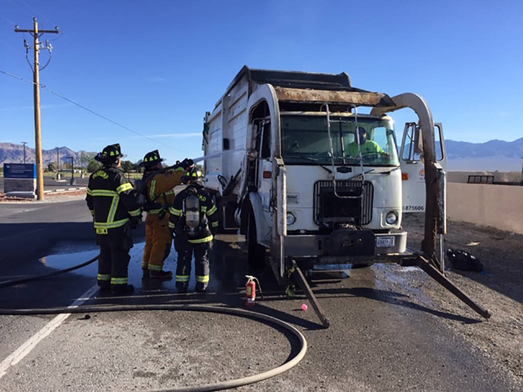 Special to Pahrump Valley Times No injuries were reported following a Pahrump Valley Disposal t ...