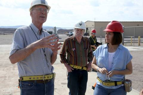 U.S. Sen. Catherine Cortez Masto, D-Nev., gets a tour of Yucca Mountain 90 miles northwest of L ...
