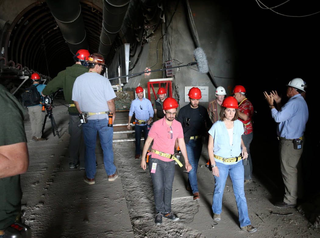 U.S. Sen. Catherine Cortez Masto, D-Nev., takes a tour of Yucca Mountain 90 miles northwest of ...